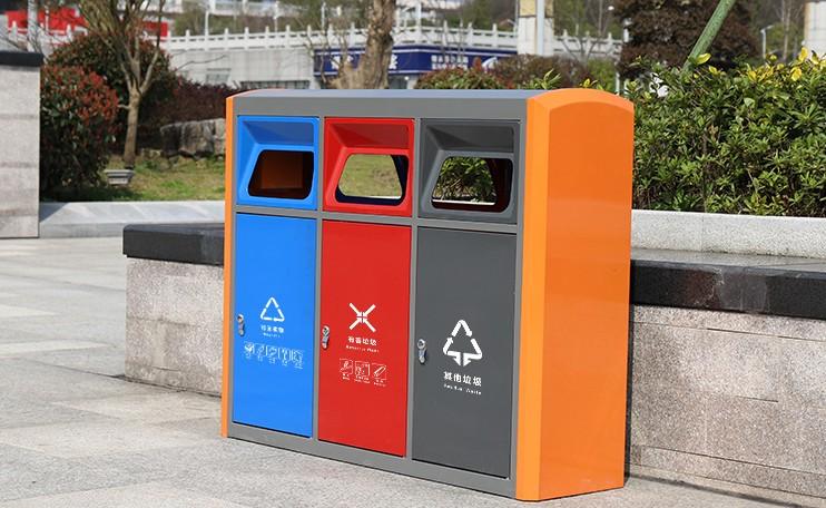 多色分类垃圾桶