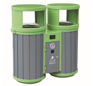 圆形分类钢木垃圾桶