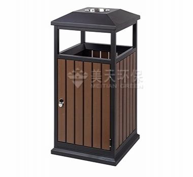 方形单桶钢木垃圾桶