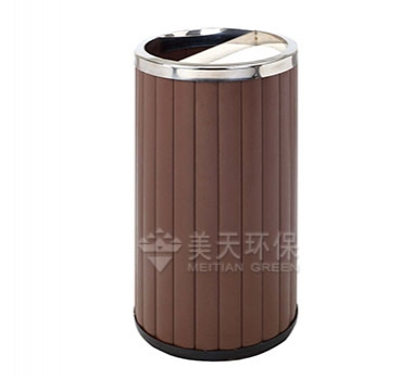 圆形钢木垃圾桶
