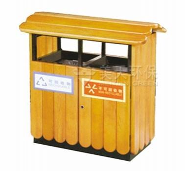 全木钢木垃圾桶