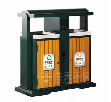 户外分类钢木垃圾桶