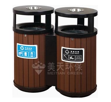 双桶钢木垃圾桶