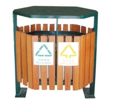 六边形钢木垃圾桶
