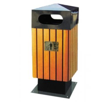 方形座地钢木垃圾桶