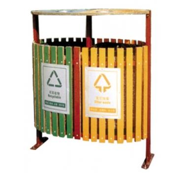 拼色分类钢木垃圾桶