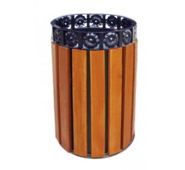 圆形直投钢木垃圾桶