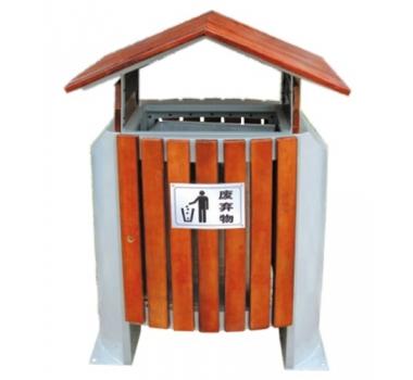 屋顶造型钢木垃圾桶