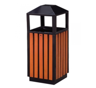 立柱钢木垃圾桶