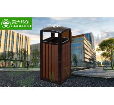 单桶方形钢木垃圾桶