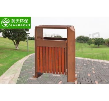 单桶景区钢木垃圾桶