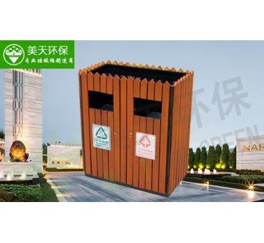盆景钢木垃圾桶