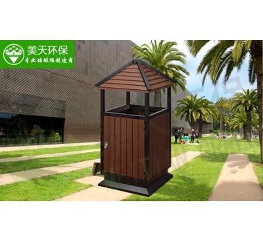 单桶户外钢木垃圾桶