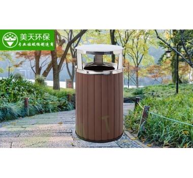 户外钢木垃圾桶
