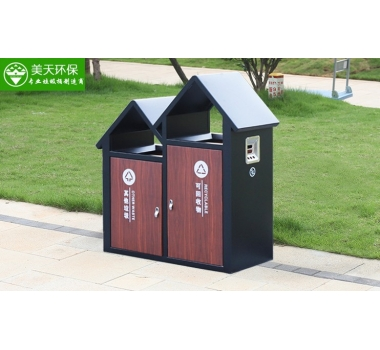 公园钢板垃圾桶