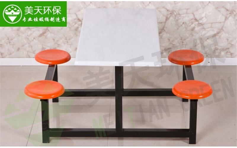 食堂四人位圆凳餐桌椅
