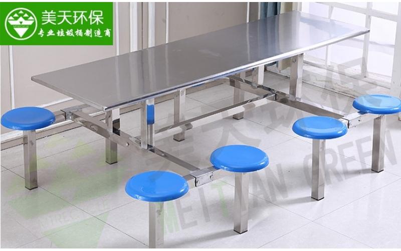 食堂八人位圆凳餐桌椅