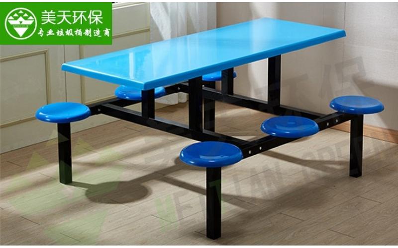食堂六人位圆凳餐桌椅